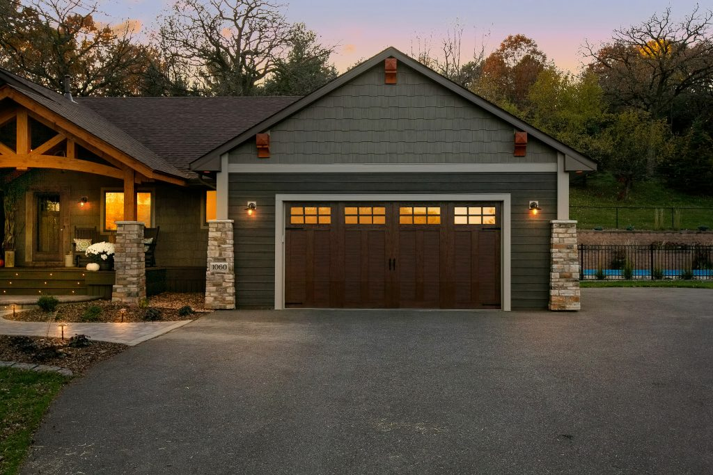 new garage with wood door